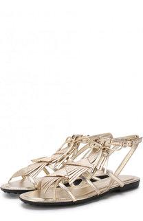 Сандалии из металлизированной кожи с бахромой Tod's Tods