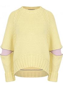 Шерстяной свитер свободного кроя с круглым вырезом Alexander McQueen