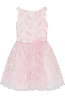 Многослойное платье с вышивкой пайетками и поясом из страз David Charles
