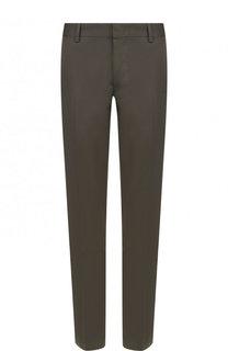Однотонные хлопковые брюки прямого кроя Lanvin