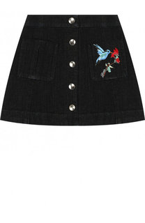 Джинсовая мини-юбка А-силуэта с вышивкой Lanvin