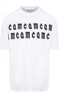 Хлопковая футболка свободного кроя с фактурной отделкой MCQ