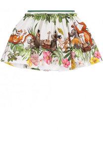 Хлопковая юбка свободного кроя с принтом Monnalisa