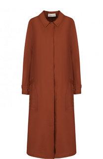 Однотонное пальто свободного кроя из смеси вискозы и льна Mansur Gavriel