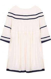 Платье из вискозы свободного кроя с контрастной отделкой Chloé