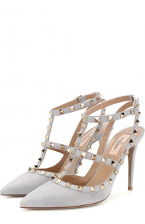 Замшевые туфли Valentino Garavani Rockstud с ремешками на шпильке Valentino