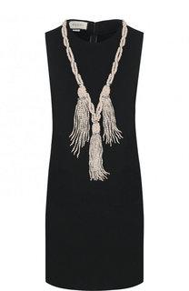 Однотонное мини-платье без рукавов с декоративной отделкой Gucci