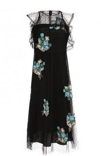 Приталенное платье-миди с контрастной отделкой REDVALENTINO
