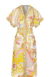 Приталенное шелковое платье с принтом Emilio Pucci