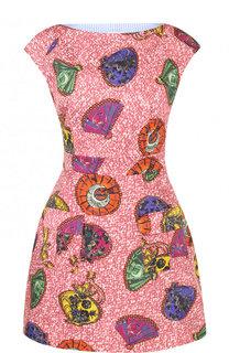 Приталенное мини-платье из хлопка с принтом Stella Jean