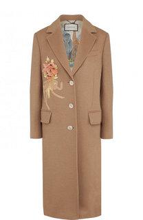 Однотонное шерстяное пальто с  декоративной отделкой Gucci