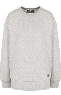 Хлопковый пуловер свободного кроя с круглым вырезом Adidas by Stella McCartney