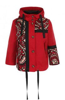 Хлопковая куртка с укороченными рукавами и принтом REDVALENTINO