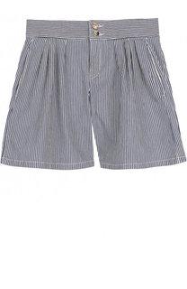 Джинсовые шорты с защипами в полоску Chloé