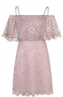 Кружевное платье с оборкой и открытыми плечами Valentino