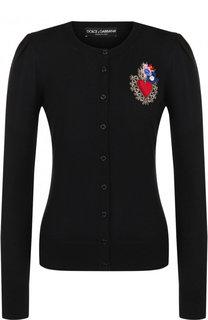 Приталенный кардиган из смеси шерсти и вискозы с шелком Dolce & Gabbana