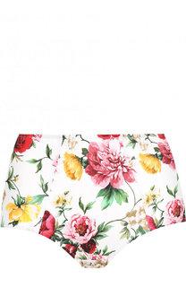 Плавки-бикини с завышенной талией и цветочным принтом Dolce & Gabbana