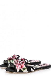 Текстильные шлепанцы Bianca с принтом и брошью Dolce & Gabbana