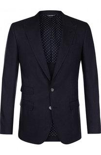 Однобортный пиджак из смеси льна и шелка Dolce & Gabbana
