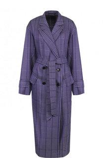 Пальто в клетку из смеси хлопка шелка и вискозы Dries Van Noten