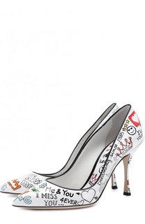 Кожаные туфли Lori с принтом на шпильке Dolce & Gabbana