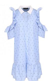 Хлопковое мини-платье с оборками и разрезами на плечах Pietro Brunelli