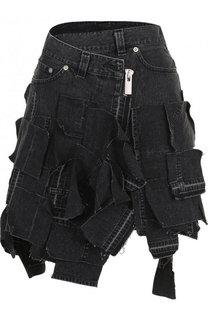 Джинсовая мини-юбка асимметричного кроя Sacai