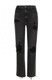 Укороченные джинсы свободного кроя с потертостями Denim X Alexander Wang