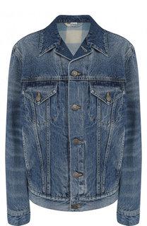 Джинсовая куртка с потертостями и принтом на спине Gucci