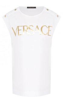Хлопковый топ прямого кроя с логотипом бренда Versace