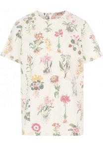 Хлопковая футболка свободного кроя с цветочным принтом No. 21