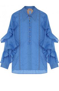 Однотонная шелковая блуза с оборками No. 21