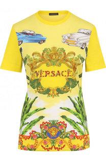 Хлопковая футболка прямого кроя с принтом Versace