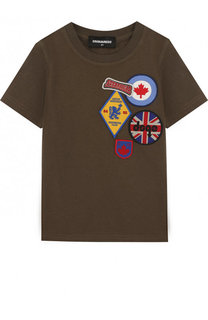 Хлопковая футболка с нашивками Dsquared2