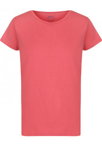 Однотонная хлопковая футболка с круглым вырезом Polo Ralph Lauren