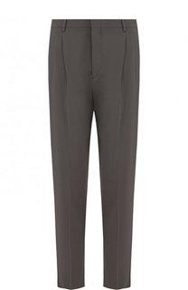Шерстяные брюки прямого кроя с защипами Giorgio Armani