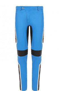 Кожаные брюки прямого кроя с контрастной отделкой Moschino