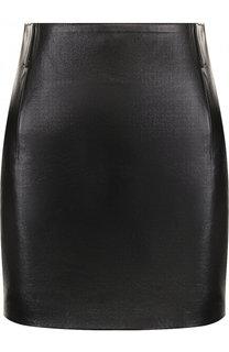 Однотонная кожаная мини-юбка Saint Laurent