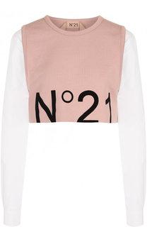 Укороченный свитшот с логотипом бренда No. 21