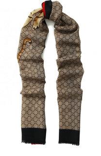 Шерстяной шарф с принтом Gucci