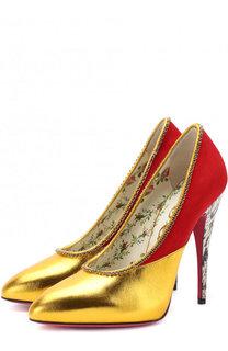 Комбинированные туфли с кристаллами на шпильке Gucci