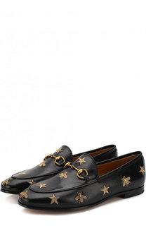 Кожаные лоферы Jordaan с вышивкой и пряжкой-трензелем Gucci