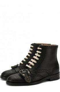 Кожаные ботинки Queercore с брогированием Gucci