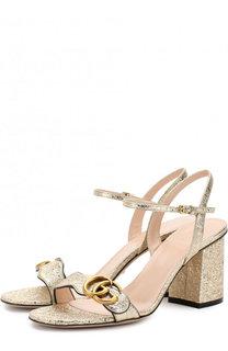 Босоножки Marmont из металлизированной кожи на устойчивом каблуке Gucci