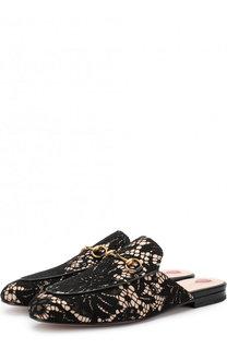 Кожаные сабо Princetown с кружевной отделкой Gucci