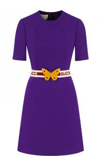 Приталенное мини-платье из смеси шерсти и шелка Gucci
