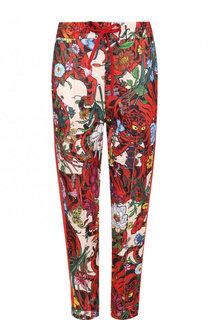 Укороченные брюки с принтом и эластичным поясом Gucci