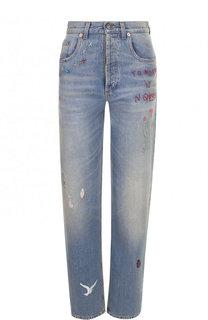 Укороченные джинсы с потертостями и контрастной отделкой Gucci