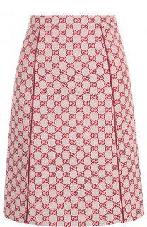 Хлопковая мини-юбка с логотипом бренда Gucci