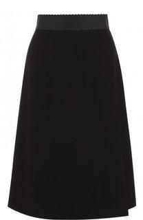 Однотонная шерстяная юбка-миди с поясом Dolce & Gabbana